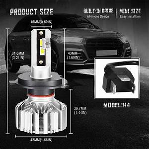 Nighteye Voiture 10000lm H4 Led Conversion Phare Kit 6000k