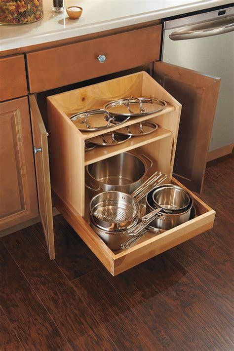 cabinet storage base pan cabinets pots kitchen homecrest organizer cookware organization cabinetry interiors homecrestcabinetry close kitchens drawer reach easy