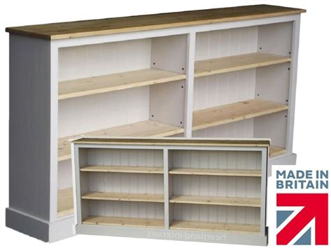 Low Wide Bookcase by Low White Painted Bookcase 6ft Wide Adjustable Display