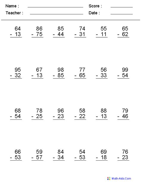 math worksheets subtraction  carrying