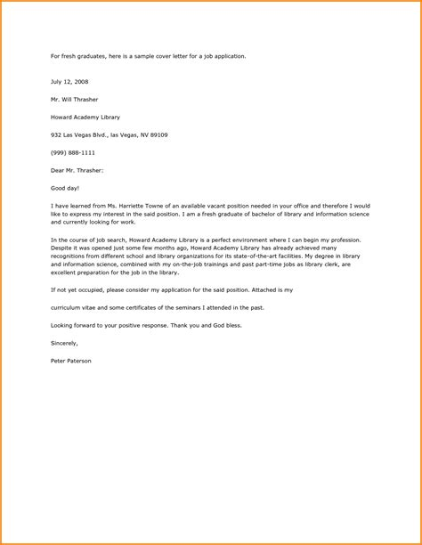 exle cover letter application fresh graduate 28 images