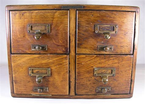 Vintage Library Card File Cabinet by Antique Library Bureau Solemakers 4 Drawer Oak Index File