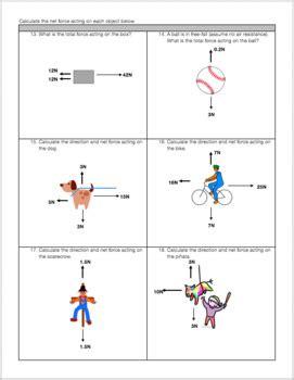 Free Body Diagram Force Practice Worksheet Tpt