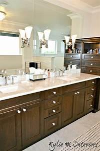 Double, Vanity, With, Marble, Countertop, Dark, Wood, Crystal, Knobs, And, Marble, Basketweave, Tile, Floor