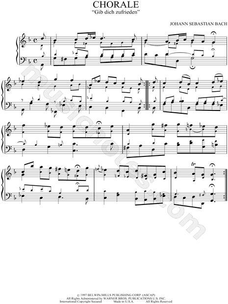 johann sebastian bach gib dich zufrieden chorale sheet