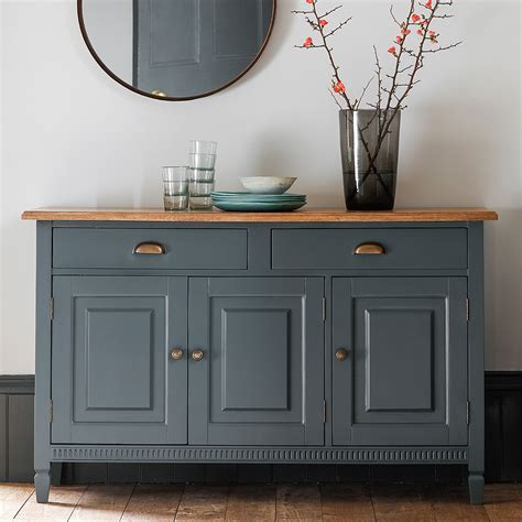 Painted Sideboard with Oak Top ? Midnight     Primrose & Plum
