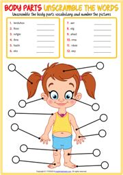 body parts esl vocabulary worksheets