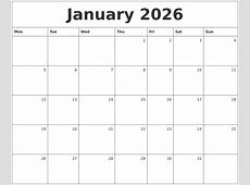 January 2026 Monthly Calendar