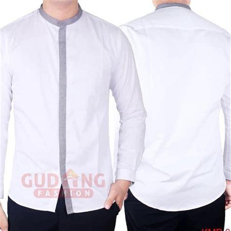 jual terbaru baju koko kerah shanghai lengan panjang slimfit kmp 03 putih m jc 1116 di lapak
