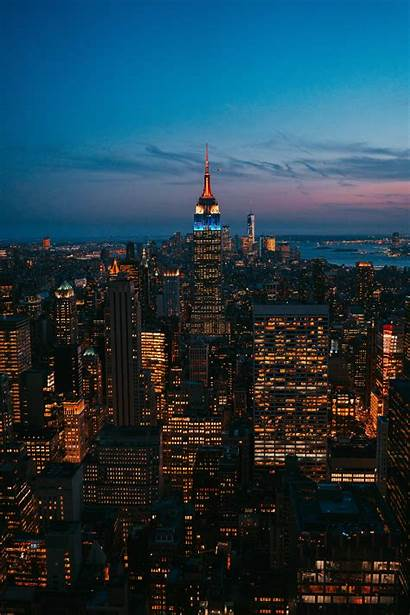 Night Lights Skyscraper York Usa Metropolis