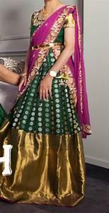 kanchi pattu lehenga style half saree pattu saree blouse