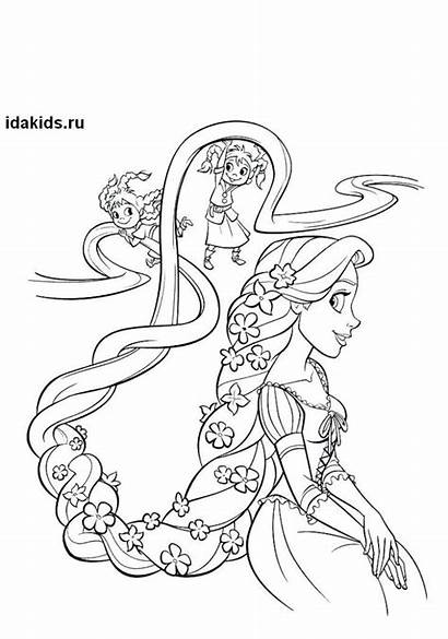 Rapunzel Coloring Pages Princess Tangled Hair