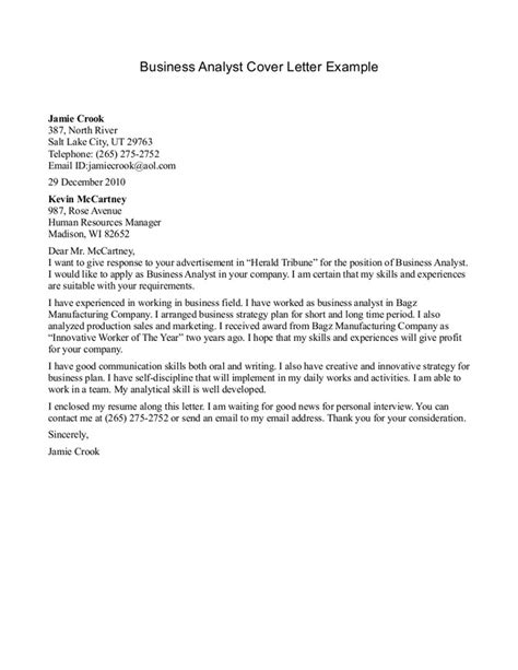 business analyst cover letter  letters