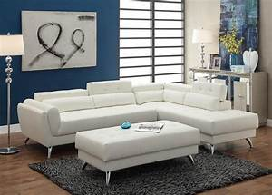 Poundex f6977 white bonded leather sectional ottoman sofa for Poundex white faux leather modern sectional sofa