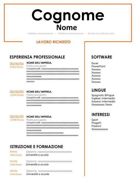 Curriculum Template Word by Template Di Curriculum Vitae Per Word Modello Cv Gratis