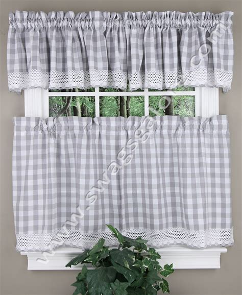 gray cafe curtains buffalo check grey cafe tier curtains