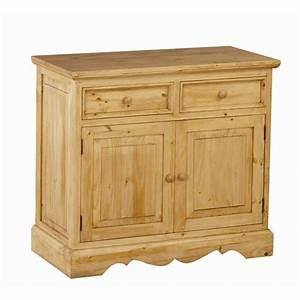 Meuble Bas Porte : meuble bas en pin 2 portes 2 tiroirs achat vente ~ Edinachiropracticcenter.com Idées de Décoration