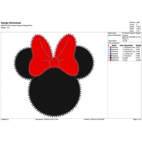 zig zag applique minnie mouse zig zag applique design