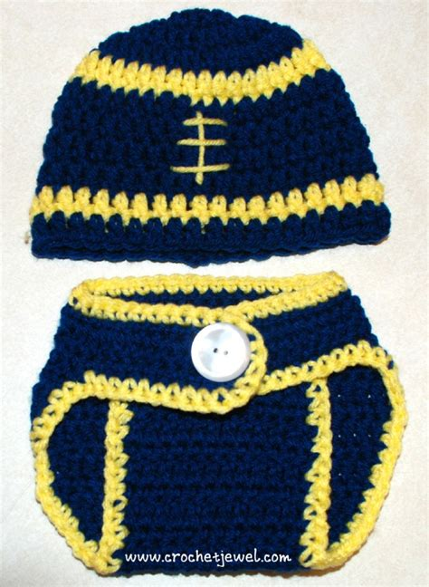 Free Crochet Diaper Cover Pattern 0 3 Months by Crochet Baby 0 3 Months Football Hat And Diaper Cover My