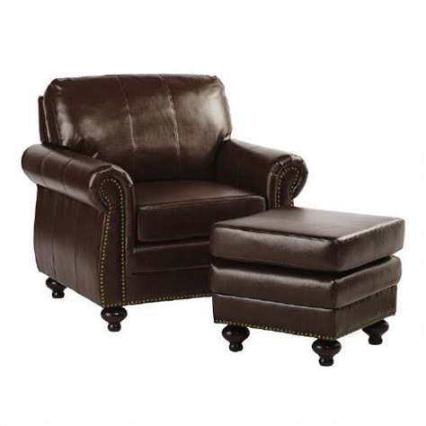 bonded leather library chair with ottoman tree