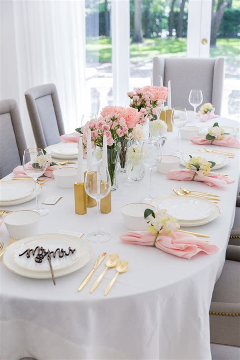 Pink Bridal Shower Tablescape  Fashionable Hostess