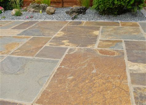 autumn grey slate paving slabs garden patio flags