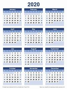 Printable 2020 Yearly Calendar Calendar Printables Free