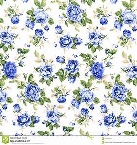 Blue Rose Fabric Background, Fragment Of Colorful Retro ...