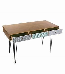 Bureau Bois Metal : bureau design en bois et pieds m tal avec trois tiroirs multicolores ~ Teatrodelosmanantiales.com Idées de Décoration