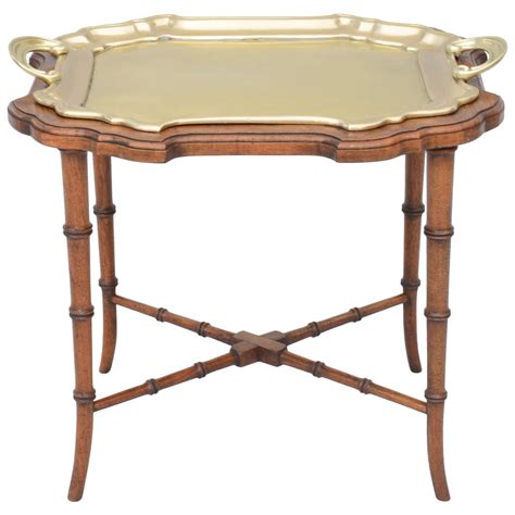 Brass Tray On Faux Bamboo Table Base At 1stdibs