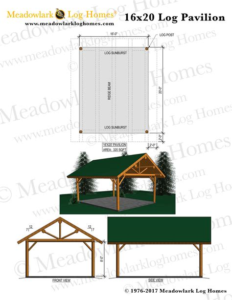 16x20 log pavilion meadowlark log homes