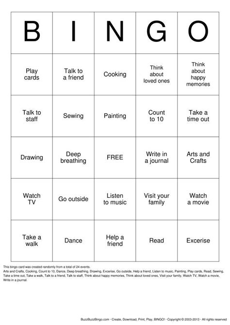 Coping Skills Bingo Printable