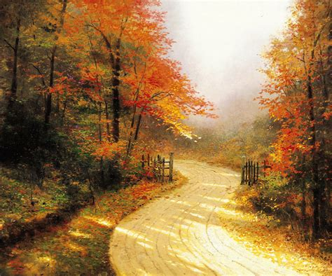 Gold Autumn Wallpapers by Kinkade Gold Autumn Road Forest Wallpaper
