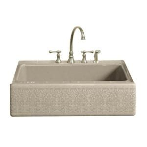 kohler dickinson farmhouse sink kohler alencon lace design on dickinson farmhouse apron