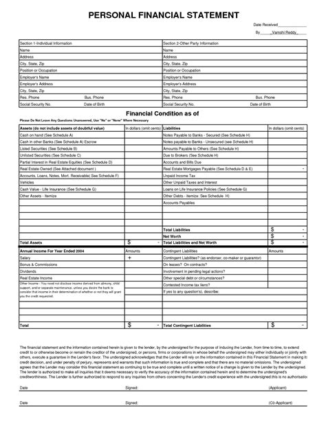 personal financial statement template 8 free financial statement templates word excel sheet pdf