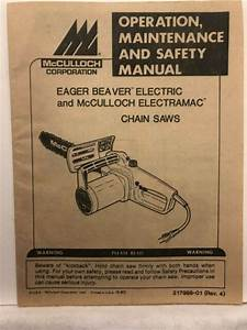 1987 Mcculloch Corporation Eager Beaver Electric Chain Saw