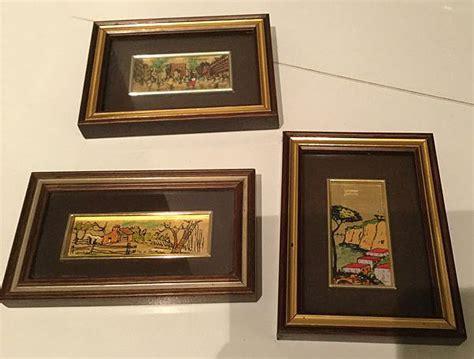 tre piccoli quadri su lastra  foglia oro   catawiki
