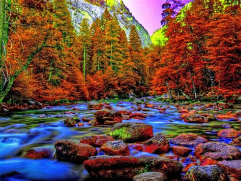 yosemite valley  autumn beautiful mountain river