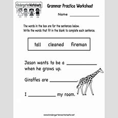 Kindergarten Grammar Practice Worksheet Printable  Worksheets (legacy)  Pinterest English
