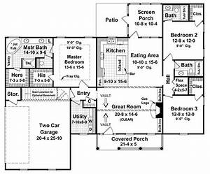 Country Style House Plan 3 Beds 3 Baths 1800 SqFt Plan