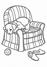Coloring Sofa Pages Puppy Pup Chair Printable Slipcover Getcolorings Getdrawings sketch template