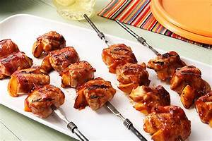 Barbecue Chicken and Peach Kabobs with Bacon Recipe Kraft Canada