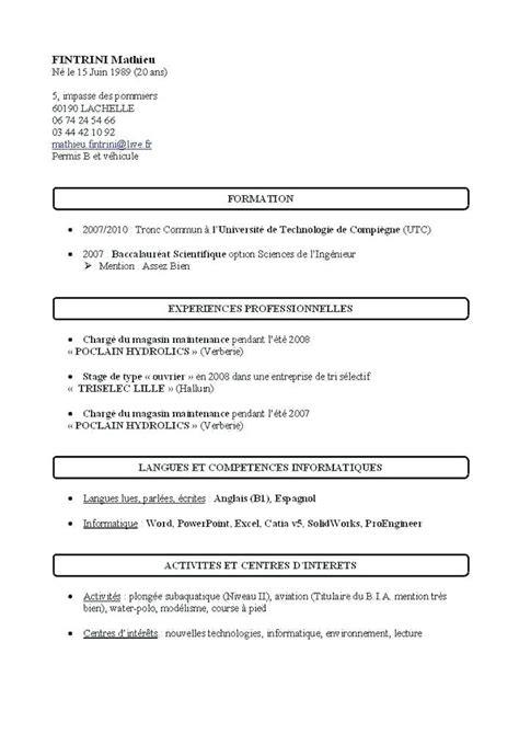 Modèle De Cv Simple Gratuit by Cv Modeles Simples Modele Cv Simple A Imprimer Gratuit