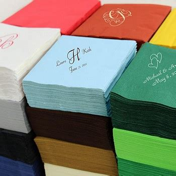 personalized wedding napkins  wedding reception ideas