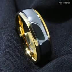 mens tungsten wedding band 8mm dome 18k gold mens tungsten ring wedding band bridal jewelry size 6 13 ebay