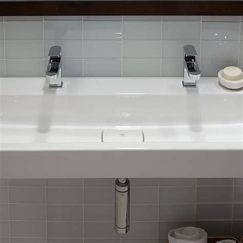 two faucet trough bathroom sink bathroom sinks lyndon 47 inch wall hung two faucet