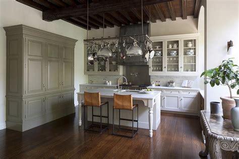 pot rack suspended  ceiling transitional kitchen