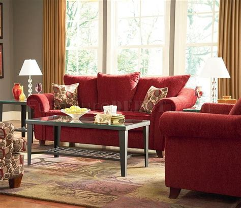 contemporary livng room chenille fabric  emperor  red