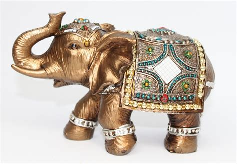 Feng Shui Elegant Elephant Trunk Statue Lucky Wealth