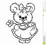 Coloring Bear Pages Flower Dreamstime Illustration Printable Sheets Cartoon Royalty Contour Coleman Bessie Cards Allen Ray sketch template